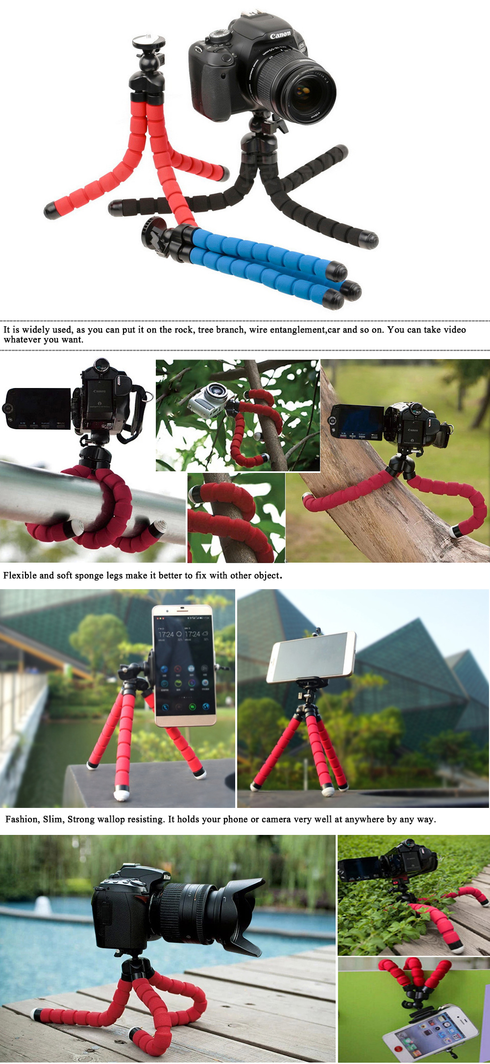 Husiway for gopro accessories set for go pro hero 5 4 3 kit mount for SJCAM SJ4000 / xiaomi yi camera / eken h9 tripod 13L