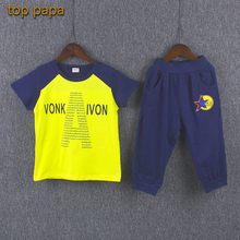 Top Papa Yellow A Top Boy Cool Clothing Children Basketball Suit Outdoor Kid Star Applique Pant Elastic Free Discount Shorts Set(China)