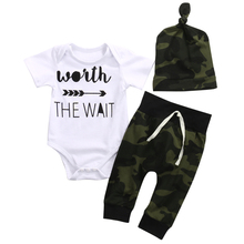3PCS Set Newborn Baby Clothes Camouflage Kids Suit Wait The Wait Baby Romper Jumpsuit+Pant+Hat Outfit Bebek Giyim Child Clothing
