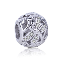 High Quality Dragonfly Charm Silver Plated Bead Cubic Zircon Beads DIY Jewelry Fit Pandora Charms Bracelet