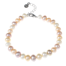 "Freshwater Cultured Pearl Bracelet New Brand jewelry Pearl 7-8mm 7"" Pink White Purple Natural Pearl Beads racelets Women Jewelry"