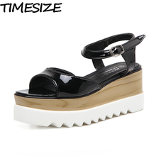 TIMESIZE New Women Pumps Casual Sport Sandals Square Toe Thick Bottom Light Sole Shoes Woman Platform Wedge High Heel Creeper