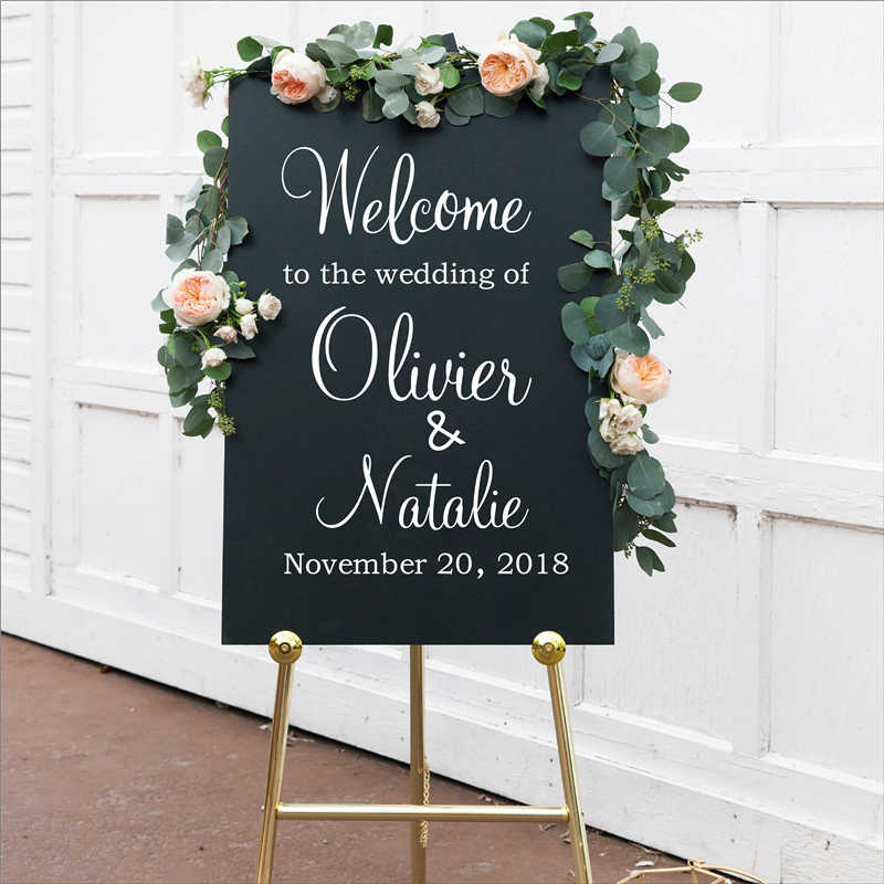 Personalised Wedding Welcome Sign Decal Sticker, Customized Wedding Reception Vinyl Removable Waterproof Welcome Sign Decal