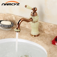 Top Grade Beauty Style Rose Golden Plated Marble Stone Basin Mixer Taps Deck Mounted Single Handle Copper Bowlder Crane XT607