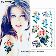 Nu-TATY Yellow Blue Rose Temporary Tattoo Body Art Arm Flash Tattoo Stickers 17*10cm Waterproof Fake Henna Painless