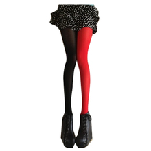 Buy BFYL Sexy Women's Patchwork AB Velvet Candy Color Elastic Pantyhose Stockings black white