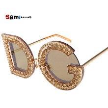 c151cb823c264e Samjune D et G lunettes de Soleil Rondes 2018 Nouveau Femmes Carré Marque  De Luxe En Cristal lunettes de Soleil Dames Rouge Jaun.