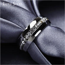 LUXUSTEEL Fashion Jewelry Stainless Steel Wedding Ring with AAA Zircon Australia Crystal for Eternal Love Finger Rings(China)