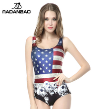 Brand Sexy Sleeveless Women Swimwear Bathing Suit American Flag Printed Beach Wear One Piece Swimsuit CYQ1067(China)