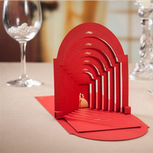 50pcs Red Wedding Scene Laser Cut Wedding Invitations Card Personalized Custom & Envelopes Seals Wedding Event & Party Supplies(China)