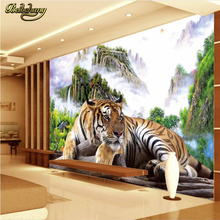 beibehang Tiger natural landscape Custom papel de parede 3d Photo Mural wall papers home decor Mural Wallpaper For Walls 3 D
