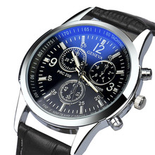 2017  Luxury Fashion Faux Leather Mens Analog  Sport Watch  Classics  Military  Blue light   LED  Watches   watches #20