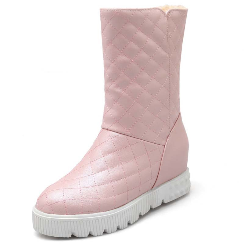 AirfourNew Round  Toe Low High Heels Snow Boots for Women Simple Elegant Platform Boots Fashion Working Women Shoes Boots<br>