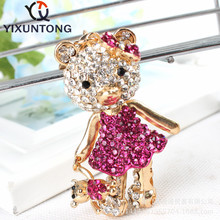 Mother bear baby bear rose red dress keychain Fashion Rhinestone Crystal Creative ladies dress handbag wallet Jewelry Llavero