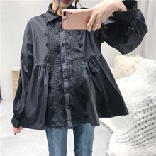 Baby Doll Lace Patchwork Puff Sleeve Blouse Black White Lolita Princess Shirt Women Top Chemise Femme Chemisier Blusa Mujer(China)