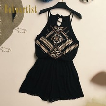 Buy Bohoartist Women Jumpsuits Halter Romper 2018 Summer Embroidery Patched Hollow Women Boho Ethnic summer macacao Sexy Romper