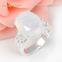 2Pcs 1 Lot  Hot Sell Classical Moonstone Wedding Jewelry Rings Russia Rings Australia Rings
