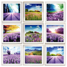 3d Needlework Diamond Painting Landscape Lavender Embroidery Mosaic Pictures  Tree Beads Icon Puzzle Picture Rhinestone  LXY181