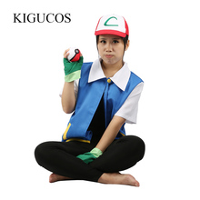 KIGUCOS Original Hot Anime Pokemon Cosplay Ash Ketchum Costumes Pocket Monster Jacket Hat Gloves Poke Ball Set
