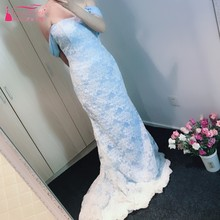 Sky Blue Ivory Lace Evening Dresses 2018 Sweetheart Neckline Off Shoulder Sweep Train Mermaid Long Lady Formal Dress Gowns(China)