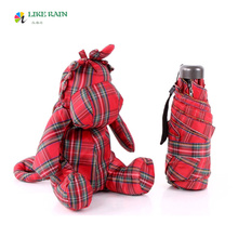 LIKE RAIN 2017 Creative Brand Cute Umbrella Small Kids Toys Pockets Umbrella Rain Women Cartoon Dragon Red Grid Umbrella UBY47(China)