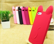 Colorful 3D Cute Koko Cat Ear Soft Silicone Phone Case For iPhone 4 4G 4S & 5 5G 5S SE Rubber Cover Cell Shell