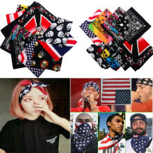 19 Styles Unisex Kerchief Skull Flag Print Cotton Paisley Bandana Camouflage Double Side Head Wrap Scarf Wristband 2016 NEW!!