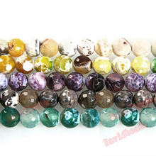 "Fctory Price 16"" Strand Natural Stone Faceted Fire Agat Round Beads 10MM Pick Color For Jewelry diy(China)"