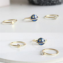 13MM Joint Finger Rings Set 2017 New 3 pcs /lot Cute Blue Star Planet Saturn Fashion Jewelry Wholesale(China)