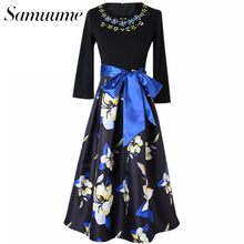 Samuume Fashion Hand Beaded Retro Beauty Floral Prints Dress Fake 2 Piece Women Patchwork Long Sleeve Black Vestidos A1508030