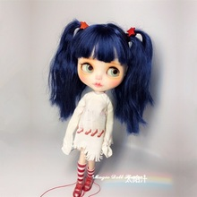 [NBL193]Free shipping Nude Blythe Doll with Blue Long Hair Rubber Face Suitable For DIY Doll For Girls(China)