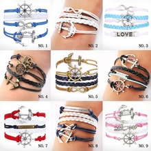 Mix Infinity  love owl Leaf charm handmade bracelet bangles jewelry The navy style anchor bracelet friendship gift items