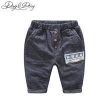 DAVYDAISY 1-7 Years Old Boys Pants Calf Length Solid Bus Pattern Elastic Casual Pants Boys Leggings Kids Sweatpants WT-009