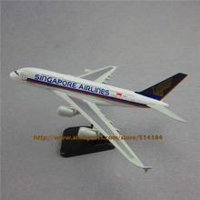 20cm Metal Plane Model Air Singapore Airlines Airbus 380 A380 9V-SKA Airplane Model Airways w Stand Aircraft  Gift