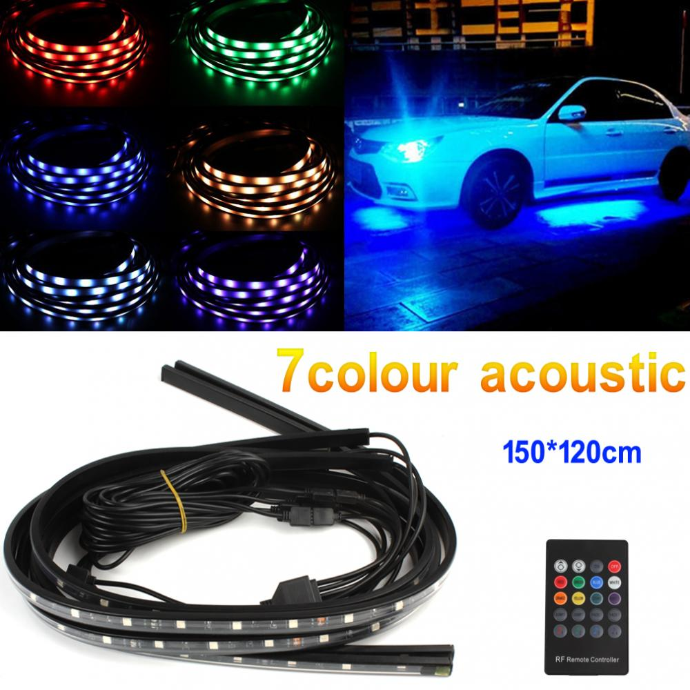 4 In 1 12V Car Interior Decoration Lamp LED Automobile Chassis Lights Bar Neon Strip (2x 150cm + 2x 120cm)<br><br>Aliexpress
