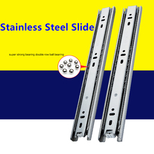 22 Inches Drawer slide rail keyboard slide rail stainless steel three section wardrobe ball slide rail track hardware fittings(China)