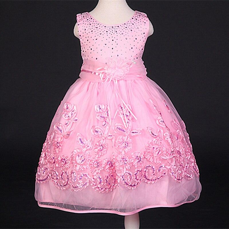 summer girl a birthday present Vest Diamond Princess Dress Girls pink sequined dress dress girls<br>