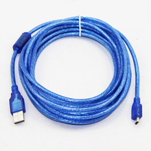 5m 16ft USB 2.0Type A Male to Mini 5P Male Mini 5P USB Cable M/M Double Shielding(Foil+Braided) Premium Quality Transparent Blue(China)