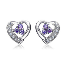 JEXXI Summer Sale 925 Sterling Silver Romantic Heart Design Stud Earrings For Woman Top Quality Ear Accessories Gift Jewelry