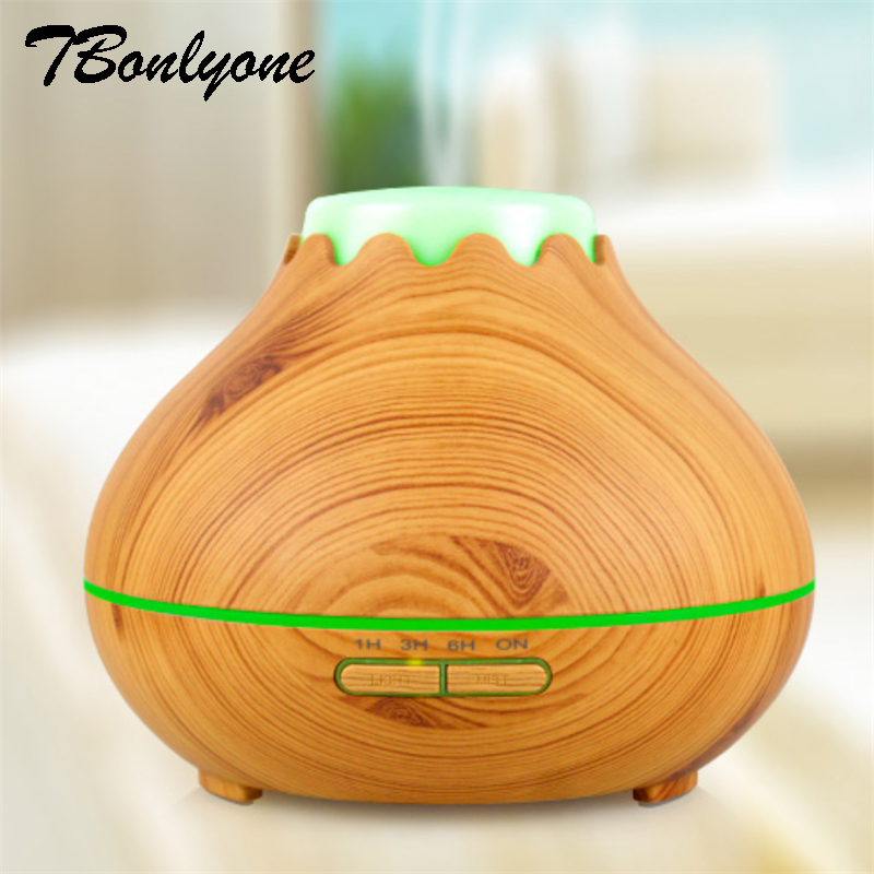 TBonlyone 400ML Wood Grain Ultrasonic Air Aroma Humidifier With 7 Color Light Electric Aromatherapy Essential Oil Aroma Diffuser<br>