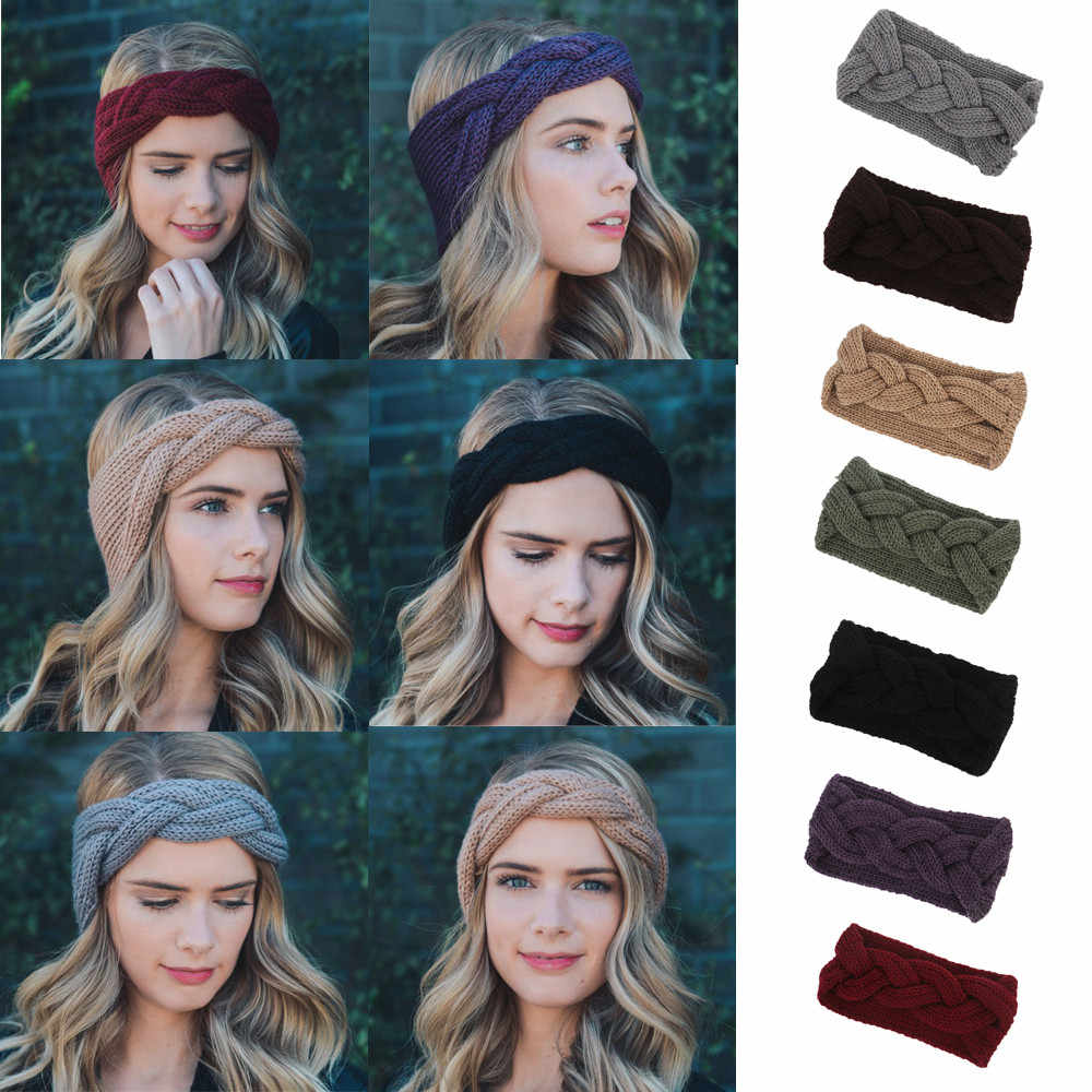 Women soft and comfortable Knitted Headbands Winter Warm Head Wrap Wide  Hair Accessories Convenient hair band 1e8c10ed97c6