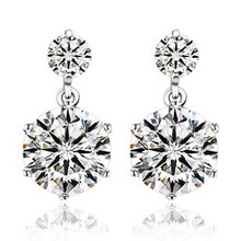 SALE Fashion jewelry 925 silver new crystal from Swarovski Feather high-grade temperament circle anti allergy Twins earrings(China)