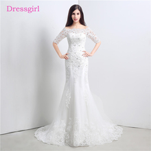 Buy Lace Vestido De Noiva 2018 Wedding Dresses Mermaid Half Sleeves Appliques Crystals Boho Cheap Wedding Gown Bridal Dresses for $113.75 in AliExpress store