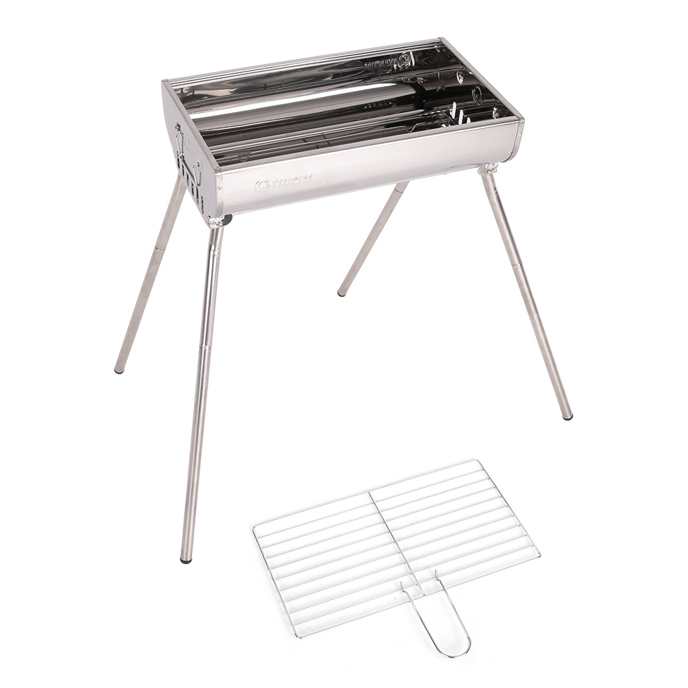 Outdoor Camping Stainless Steel Barbeque Grill Cooking Broiler Garden Charcoal Barbecue BBQ Pinic Grill Set(China (Mainland))