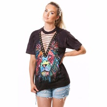 Lace Up V-neck Colorful Tiger Printed Sexy Mini Dresses Short Sleeve Summer Beach Music Festival Rock Dresses 2017 Summer Dress
