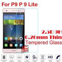 Cheap New 0.26mm 2.5D 9H Tempered Temper Glass Phone Mobile Front Film Screen Protector Protective Guard For Huawei P9 P 9 Lite