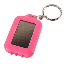 10X Mini Solar light 3 led flashlight Keychain Solar Power rechargeable night Light Lamp for Hiking travel camping outdoor Pink