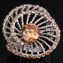 Unusual Rotating Orange Champagne Morganite Cubic zirconia Gems 925 Sterling Silver Fashion Jewelry Rings Size 6 7 8 9 S1408(China)