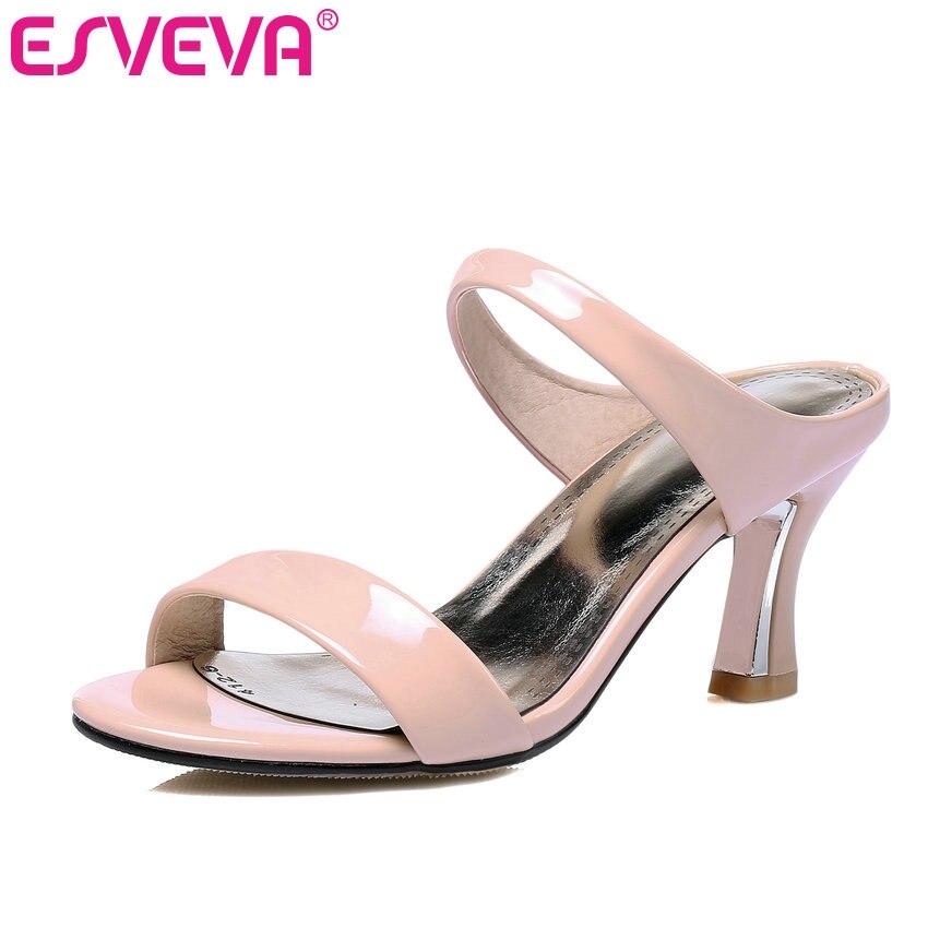 ESVEVA 2017 New Thin Heel Slip on Summer Shoes Elegant High Heel Women Pumps Peep Toe White Party Fashion Shoes Big Size 34-43<br>