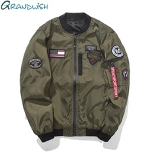 Grandwish Army Green Bomber Jacket Men with Patches 2017 Autumn Mens Flight Jacket Patch Slim Fit Mens Baseball Jacket ,DA244